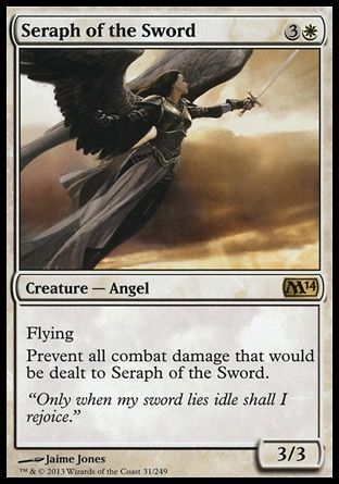 Seraph of the Sword - Magic the Gathering Card Review:  http://www.lifesuccessfully.com/gaming-articles/seraph-of-the-sword-magic-the-gathering-mtg-card-review