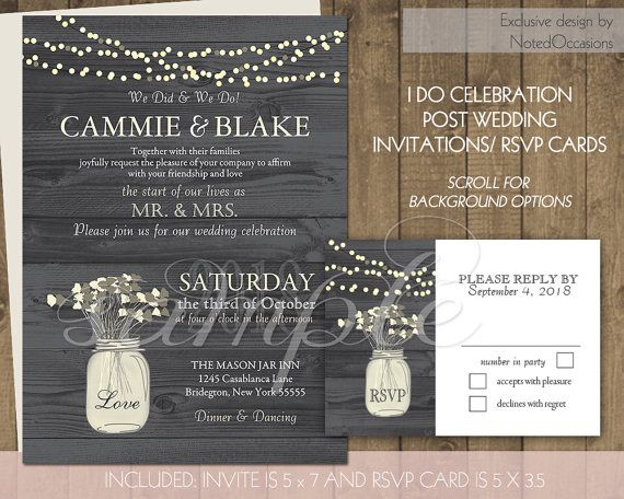 I Do Bbq Wedding Reception Only Invitation Printable Set Rustic