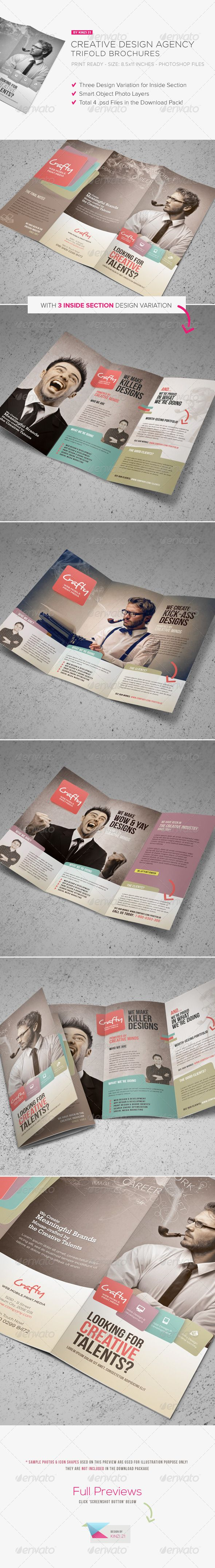 Creative Design Agency Trifold Brochure is design template created for sale on Graphic River. More info of  the template and how to get the template sourcefiles can be found on this page,  http://graphicriver.net/item/creative-design-agency-trifold-brochure/5743041?r=kinzi21
