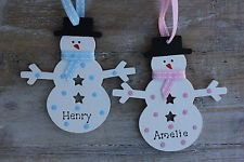 Personalised Wooden Christmas Tree Decoration Snowman Child Blue Pink Spots