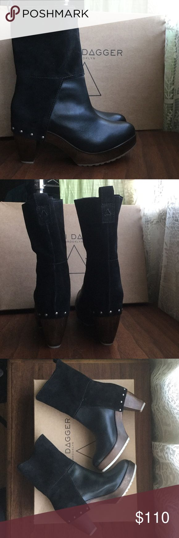 """NIB Kelsi Dagger """"Allan"""" boots in black New in box, never worn. Black, size 7.5. Wooden heel with rubber grippy sole - great for slippery winter streets! Also sold at Anthroplogie. Kelsi Dagger Shoes Heeled Boots"""