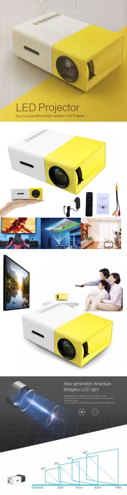 Home Theater Projectors: Yg300 1080P Home Theater Cinema Usb Hdmi Av Sd Mini Portable Hd Led Projector -> BUY IT NOW ONLY: $35 on eBay!