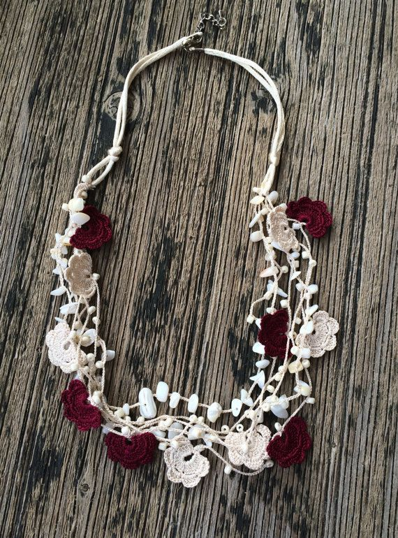 Beige Burgundy Crochet Statement Necklace, Bib Necklace, Beadwork, ReddApple, Handmade Beaded Jewelry