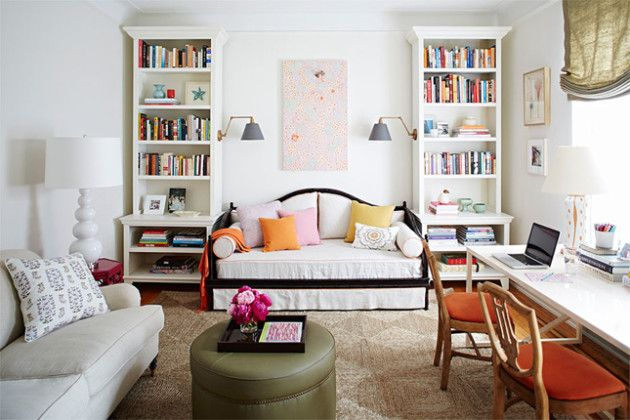 love a multi purpose room...more bang for your buck. home office, daybed and sitting area