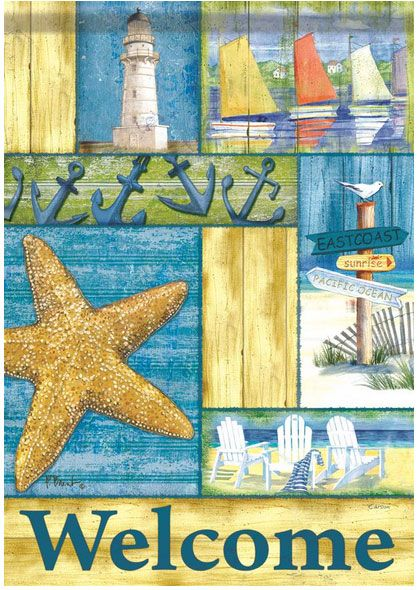 Seaside collage - a great East Coast themed flag.