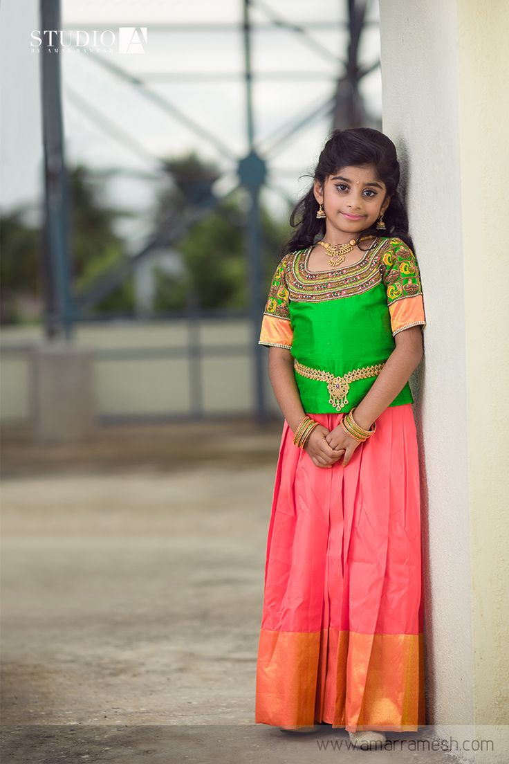 """Doll up your little darling in this customized designer skirt and top highlighted with intricate kundan embroidery at the neckline and sleeves. The majestic """"ODDIYANAM"""" completes the ethnic royal look. Click here to buy it online - http://www.anyaonline.in/product.aspx?produid=AK0078 Shot by Amar Ramesh Photography"""