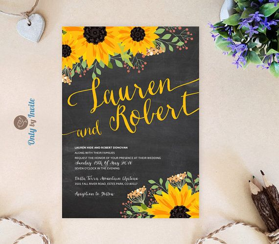 Chalkboard wedding invitations printed on premium paper | Sunflower wedding invitations | Fall wedding cards | Rustic wedding invitations