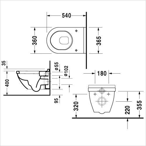 starck 3 wall hung wc geberit 112 sigma01 pack - Wall Hung Toilet