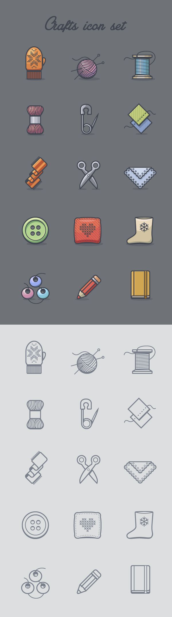 Woah this icon is simply superb. I like this !! Crafts icon set on Behance