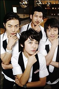 Coffee Prince - Lee Eon as Hwang Min-yeop (waiter at Coffee Prince), Kim Dong-wook as Jin Ha-rim (waiter at Coffee Prince), Kim Jae-wook as No Sun-ki (waffle chef at Coffee Prince)