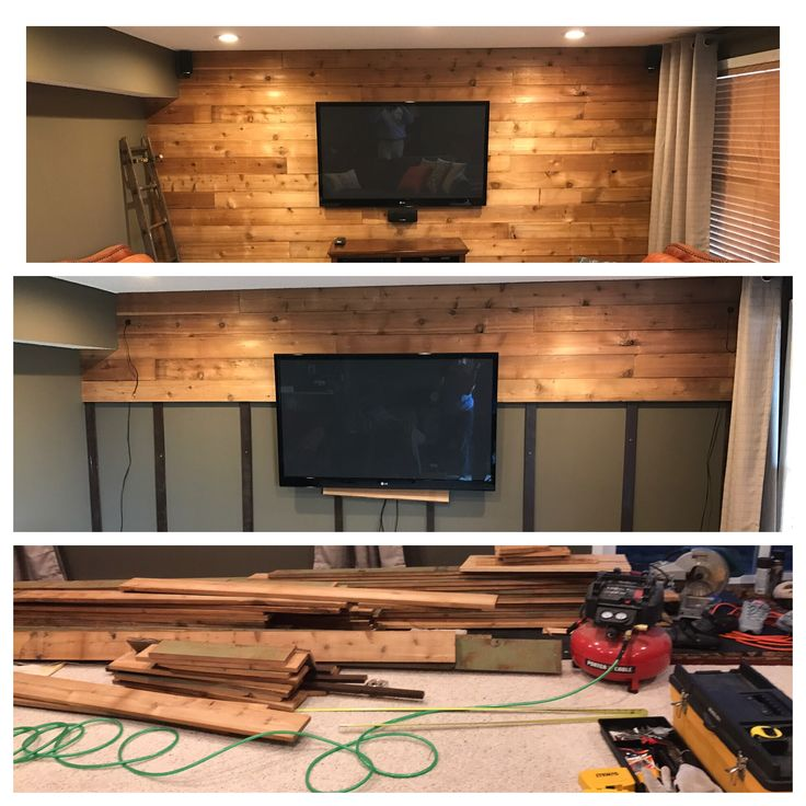 Basment Accent Wall: Recycled Raw Cedar Siding To Accent Wall In 2019