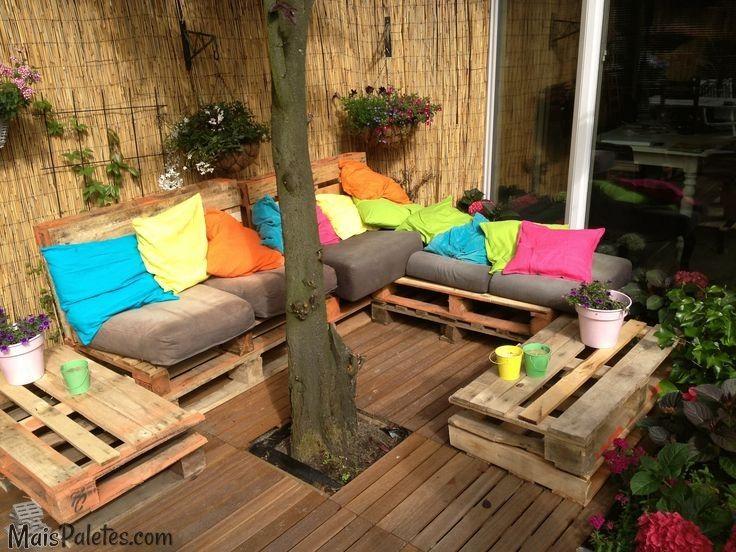 jardim vertical terraco:Pallet Outdoor Lounge Seating