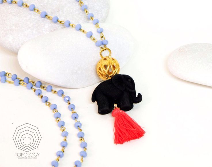Long Elephant Pendant Tassel Necklace-Rosary Necklace-Yoga Necklace-Light blue faceted glass beaded chain with black elephant and red Tassel - pinned by pin4etsy.com