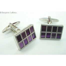 Purple Pictures Cufflinks - Purple squares in a rectangular setting.