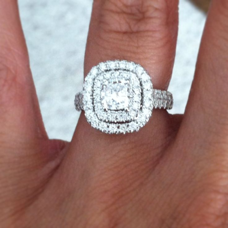 PERFECT! thick band and everything. Neil lane engagement ring- 2 ct Cushion cut with double halo