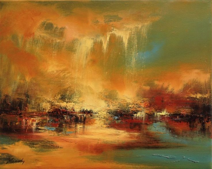 Golden Dust - 40 x 50 cm, abstract landscape oil painting, earth tone colours (2016) Oil painting by Beata Belanszky Demko | Artfinder