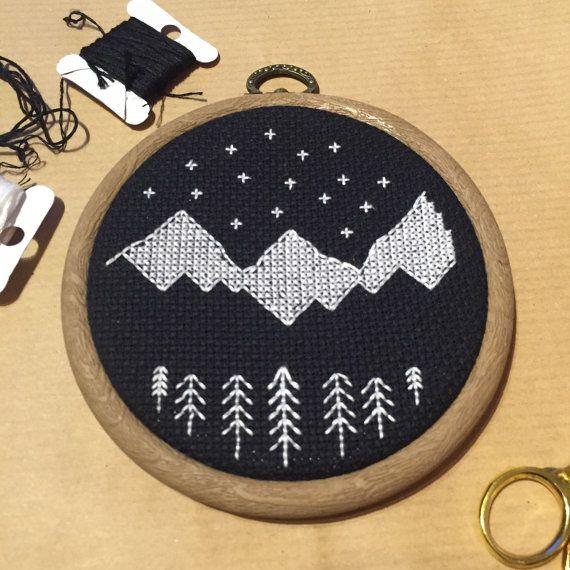 Cross Stitch Hoop Art / Mountain Scene Wall Hanging by PrettyPugly