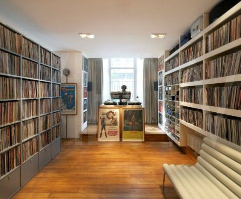 PRIVATE HOUSE, AMBIENCE CONTRACTS, LONDON 2010, SHELVING FOR RECORD COLLECTION #music #vinyl #interior #records