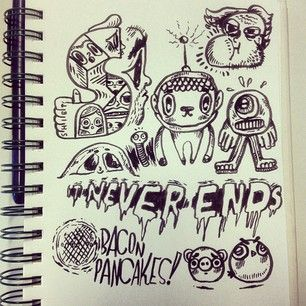 Meeting notes 2pm-3pm. #illustration #it #never #ends #doodle #drawing #martians #baconpancakes