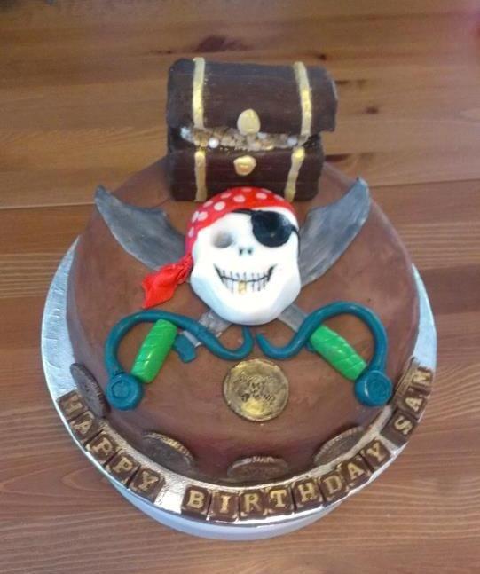 Pirate and treasure chest birthday cake