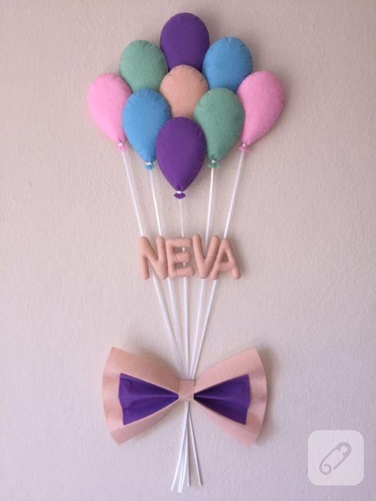 Balonlu kurdeleli keçe kapı süsü, duvar süsü olarak da kullanılabilir. kız ve erkek bebek odaları için yapılmış süsler, bebek hediyelikleri, anne bebek aksesuar modelleri 10marifet.org'da