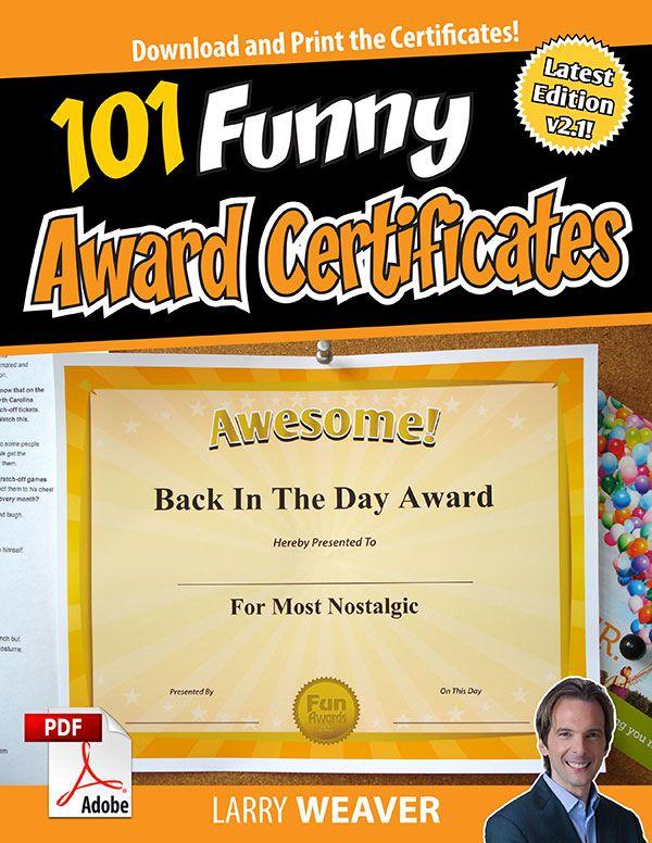 101 Funny Award Certificates Awards Award Certificates Awards