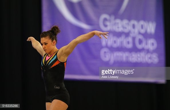 Ruby Harrold of the British Gymnastics Team performs on the Beam during Women's National Senior Team Championships at the Emirates Arena on March 13, 2016 in Glasgow, Scotland.