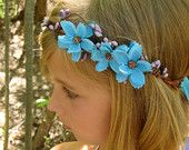 Turquoise Cosmos Flower Girl Hair Wreath - turquoise baby cosmos with purple pip berries on a rustic, twisted vine crown