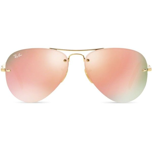 Ray-Ban High Street Mirrored Rimless Aviator Sunglasses (£126) ❤ liked on Polyvore featuring accessories, eyewear, sunglasses, ray ban glasses, aviator glasses, mirror aviator glasses, mirror sunglasses and rimless eyewear