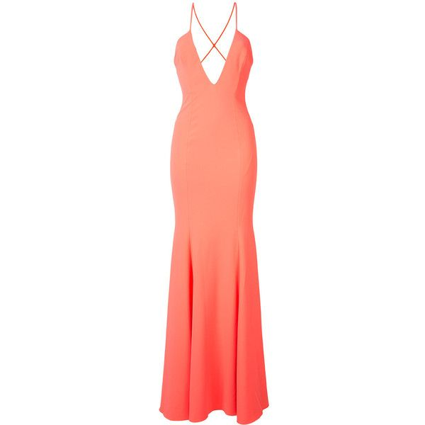 Jay Godfrey - v-neck gown - women - Polyester/Spandex/Elastane - 2 ($520) ❤ liked on Polyvore featuring dresses, gowns, orange dress, orange evening dresses, jay godfrey dress, orange gown and red spandex dress