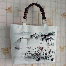 Yeni Ulusal Etnik tuval Mürekkep Manzara el boyama çantası bağbozumu büyük çanta ahşap boncuk beyaz omuz çantası yüksek kalite