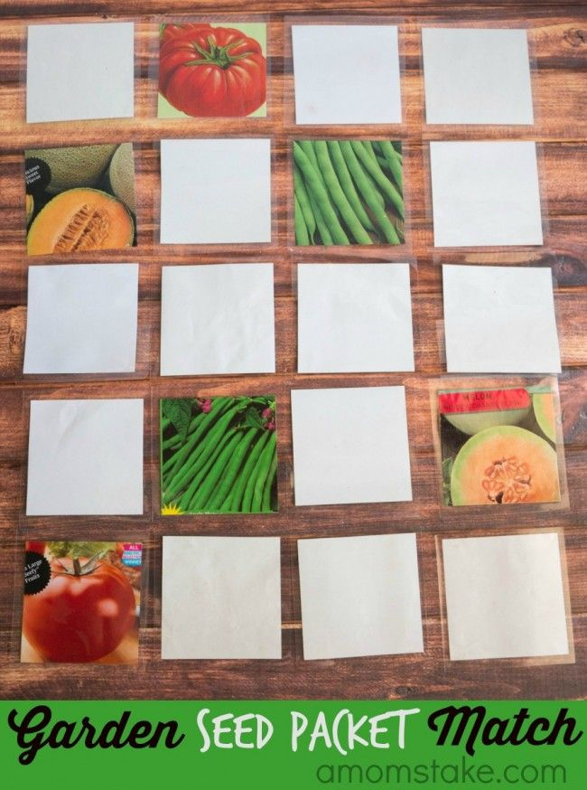 DIY Garden seed packet match game - a perfect idea to teach your toddler or kids about vegetables and plants. Great indoor fun for a rainy day activity.
