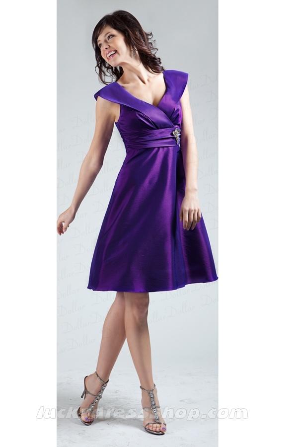 Purple A Line Princess V Neck Knee Length Empire