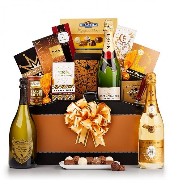 The Royal Champagne Gift Basket - choice of champagne. An elegant gift basket that's sure to impress! Perfect for celebrating a milestone birthday!