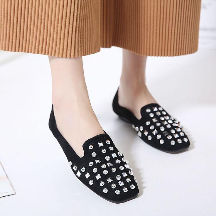 Retro Womens Boat Shoes Girls Casual Flats Slip On Rivets Low Heel Dress
