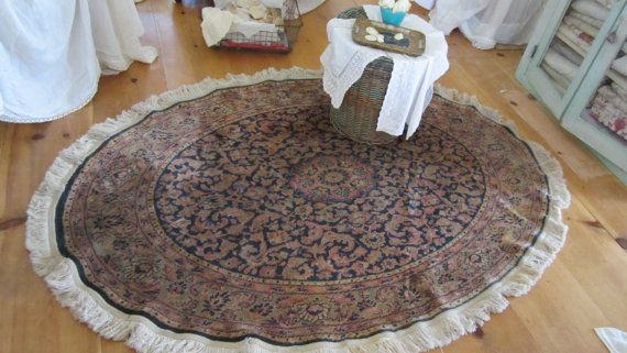 ??? But I do like the idea of a round rug in the living room. persian rug shabby chic french 100% jute fiber
