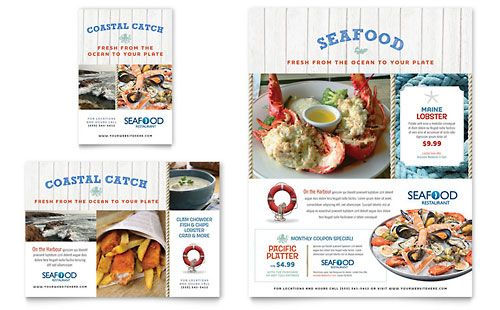 Seafood Restaurant  Flyer Template Design Sample  Print Design