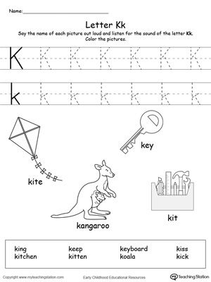words starting with letter k projects to try letter k letter k words tracing letters. Black Bedroom Furniture Sets. Home Design Ideas