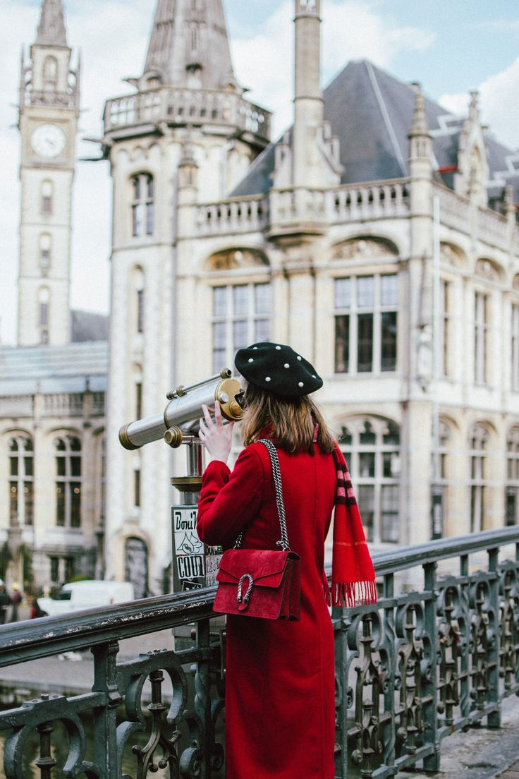 How to spend 24 hours in Ghent, Belgium, travel guide, one day in ghent belgium, andreea birsan, couturezilla, gent, red long coat, pearl embellished black beret, red burberry scarf, cute winter outfit 2018, what to do in ghent, plaid scarf, over the knee boots, otk boots, faux suede over the knee boots, heeled otk boots, black winter boots, how to wear over the knee boots, rhinestone fishnet tights, stockings, how to wear fishnets, real suede mini skirt, button up skirt in black, striped…