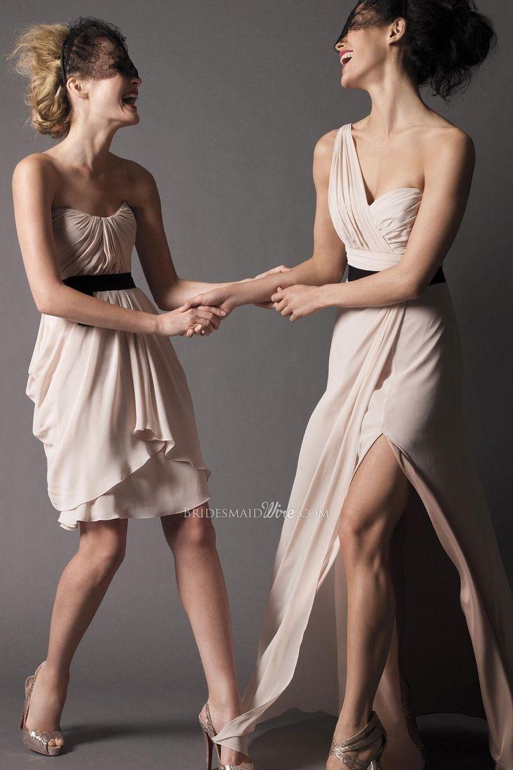 flirty strapless chiffon knee length a-line bridesmaid dress vertically draped bodice