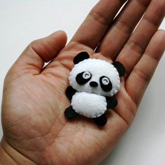 Ping the Panda - Teeny Weeny Tiny Stuffed Felt Animal - Keychain Magnet or Cell Phone Lanyard Charm