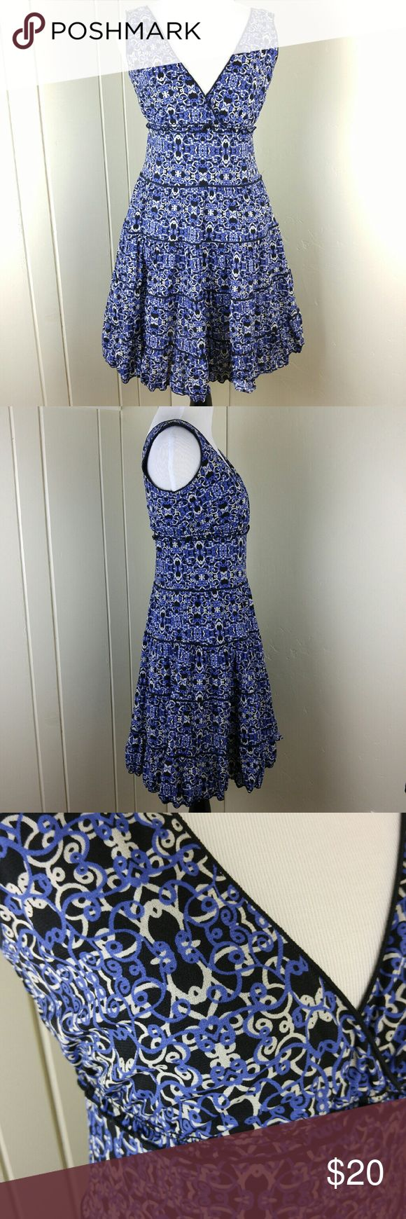 "Sweet and feminine patterned dress A bluish purple, cream, and black scroll patterned dress in great condition! Nylon. Lined. Pic 4 shows the back. 35"" length. Stretches. Style & Co Dresses"