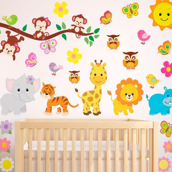 Adesivi per bambini: Kit animali giungla. Adesivi murali bambini a kit. #adesivimurali #decorazione #modelli #mosaico #sole #leone #giraffa #tigre #elefante #buho #farfalla #scimmie #ippopotamo #StickersMurali