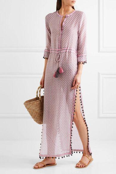 Talitha - Jaya Tasseled Silk And Cotton-blend Kaftan - Pink -