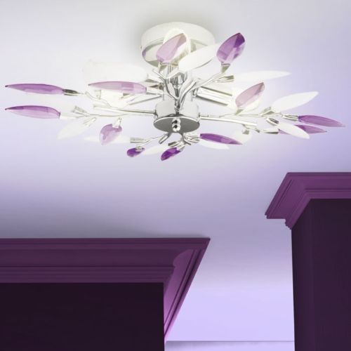 9W-LED-Ceiling-Lamp-Design-Lamps-Purple-Leaves-chrome-branches-living-room-NEW