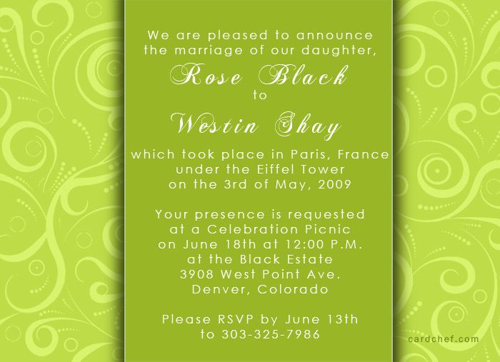 Lime Green Wedding Invitations With Photo