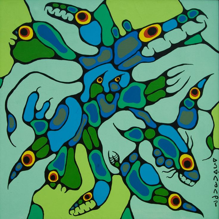 norval morrisseau paintings | Norval Morrisseau-Inorganic Beings 1974. Original Paintings (Oils)