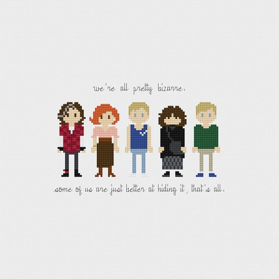 The Breakfast Club inspired cross stitch pattern PDF instant download includes: Full color, easy-to-read chart with color symbols and DMC