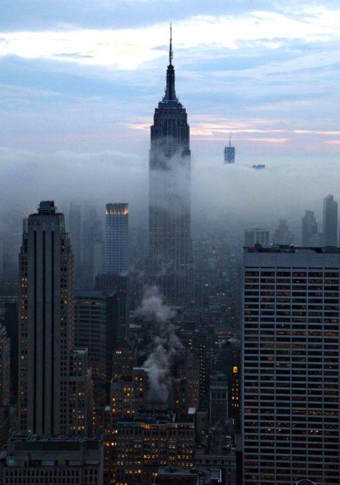 manhattan under fog