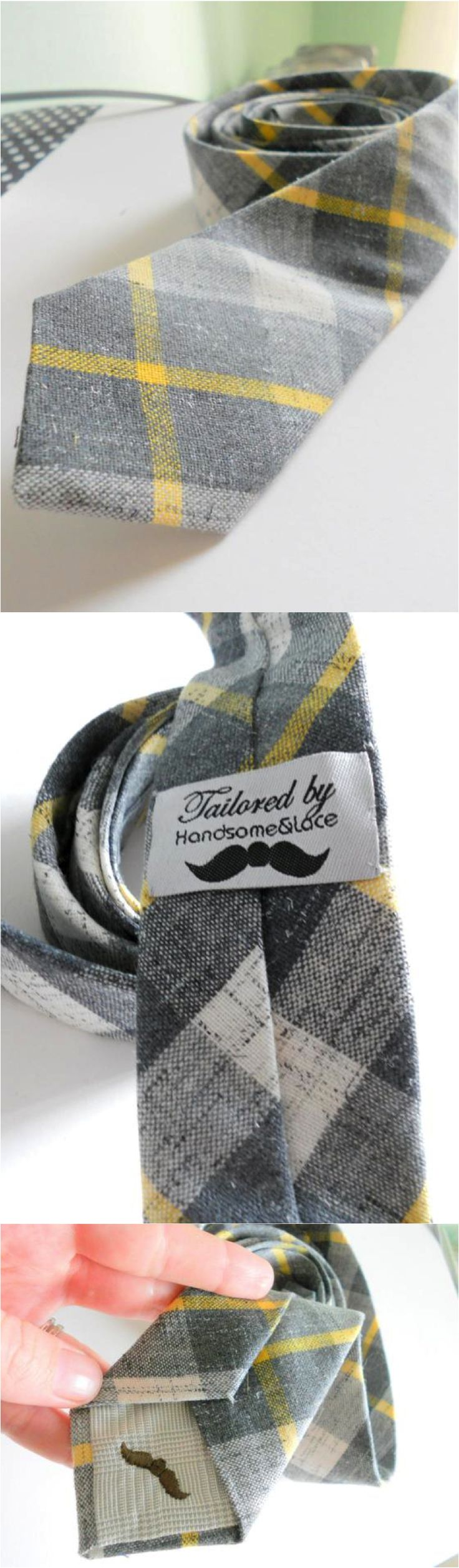 Date night is the perfect night to show off your awesome new grey and yellow tartan tie! | Made on Hatch.co by independent designers & artists